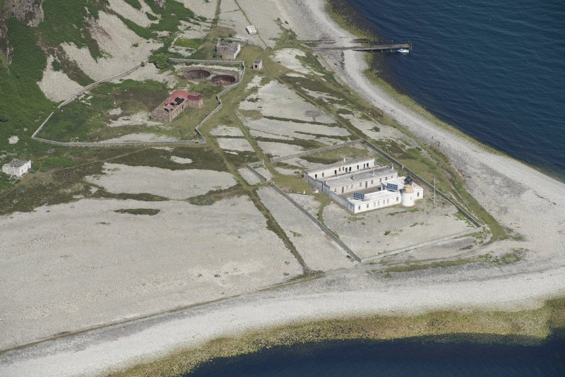 Oblique aerial view of Foreland Point Lighthouse, keeper's cottages and gasworks, looking NNW.