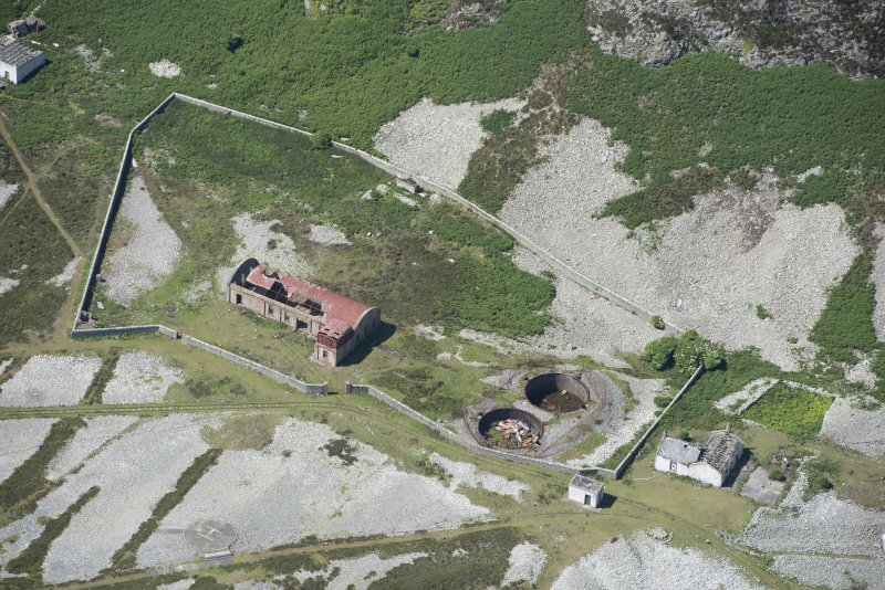 Oblique aerial view of Foreland Point Lighthouse keeper's cottage, looking SW.