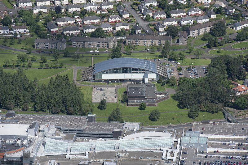 Oblique aerial view of The Key Experimental Youth Centre and Dollan Aqua Centre, looking N.