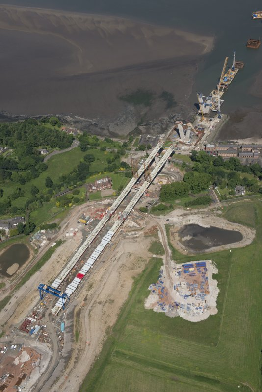 Oblique aerial view of the construction of the Queensferry Crossing, looking NNW.