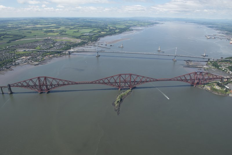 General oblique aerial view of the Upper Firth of Forth with The Queensferry Crossing construction, The Forth Road bridge and Forth bridge, looking W.