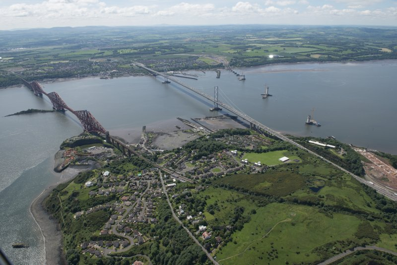 General oblique aerial view of the Upper Firth of Forth with The Queensferry Crossing construction, The Forth Road bridge and Forth bridge, looking SW.