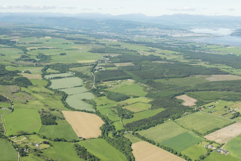 General oblique aerial view along the River Nairn towards Culloden Moor and Clava with Inverness in the distance, looking WSW.