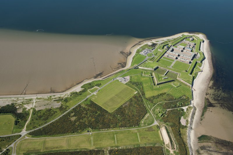 Oblique aerial view of Fort George, looking SSW.
