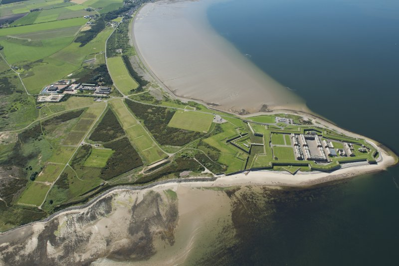 General oblique aerial view of Fort George, looking SE.