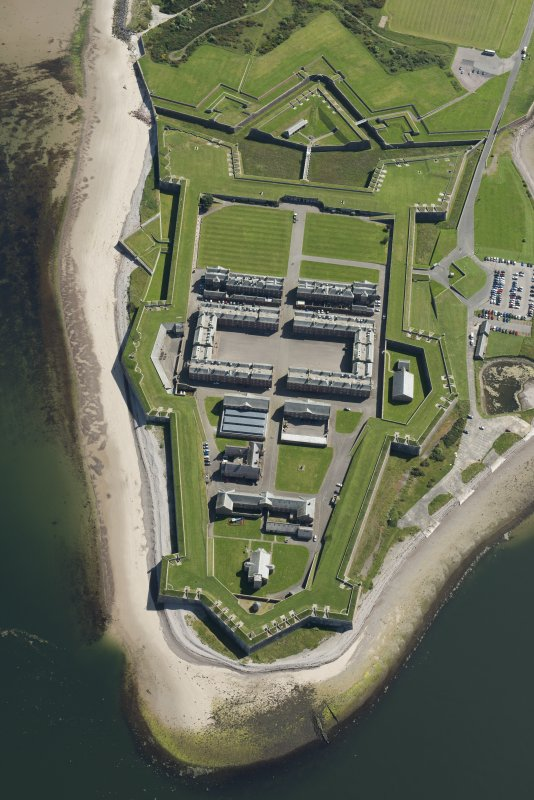 Oblique aerial view of Fort George, looking ENE.