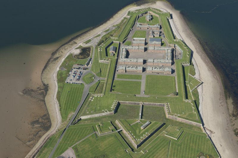 Oblique aerial view of Fort George, looking SW.