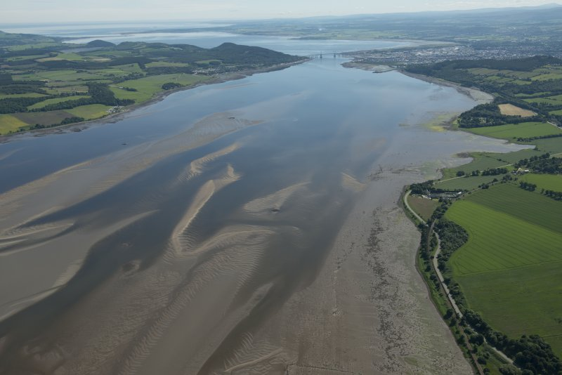 General oblique aerial view of the crannogs in the Beauly Firth looking E.