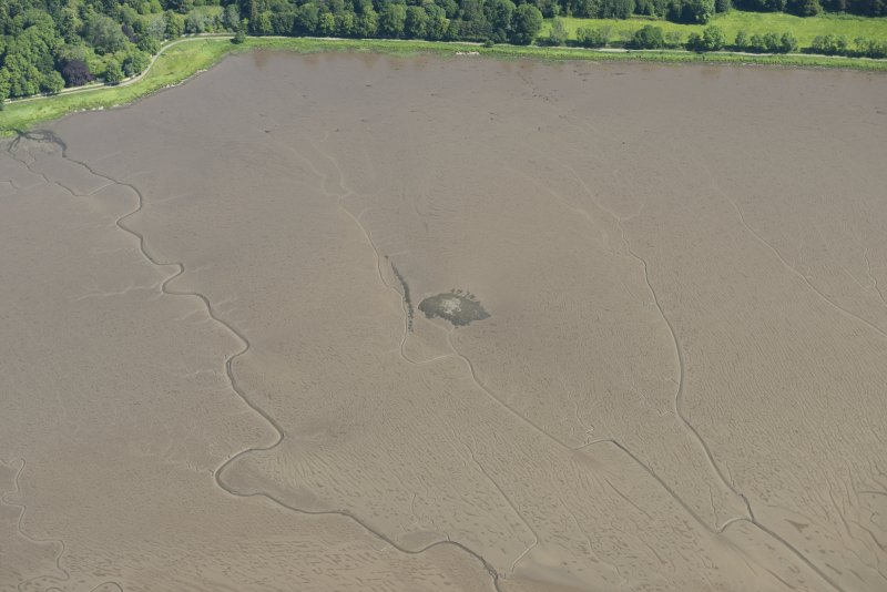 Oblique aerial view of the crannog at Redcastle, looking NE.