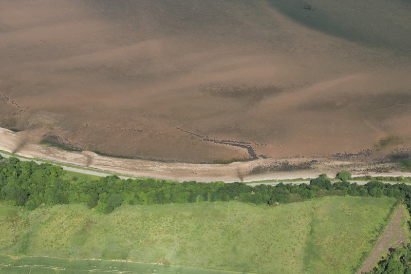 Oblique aerial view of the fish trap, looking NW.