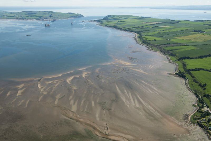 General oblique aerial view of Udale Bay and the fish traps, looking E.