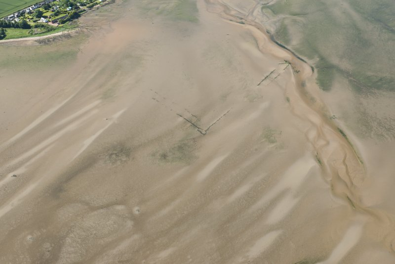Oblique aerial view of the fish traps, looking SW.