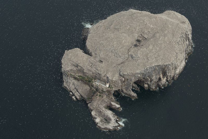 Oblique aerial view of the Bass Rock, looking NNW.