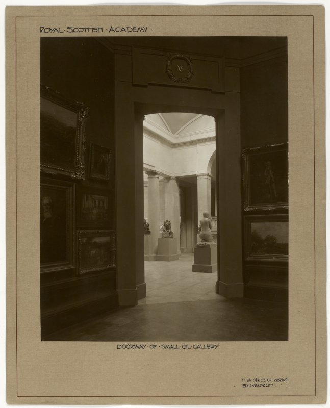 Interior view of the Royal Scottish Academy, Edinburgh, showing detail of doorway of small oil gallery.
