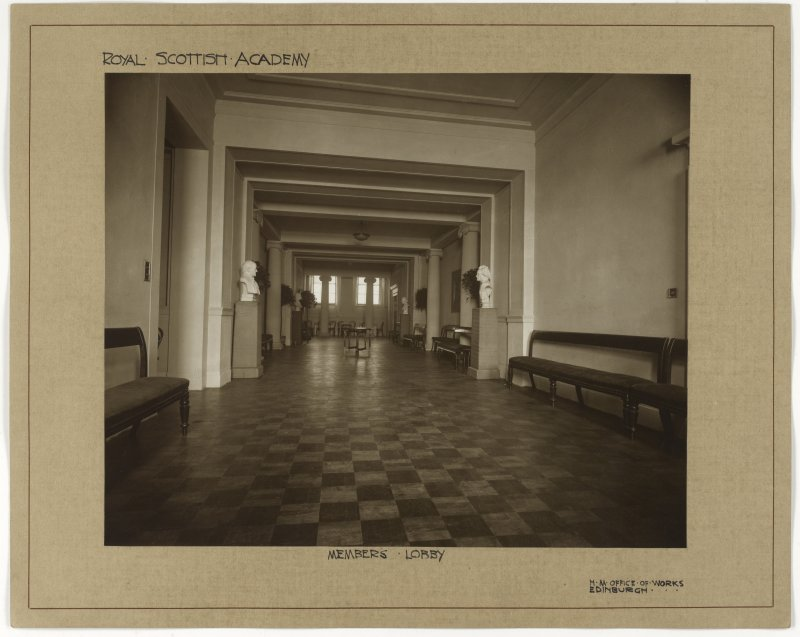 Interior view of the Royal Scottish Academy, Edinburgh, showing view of members lobby.