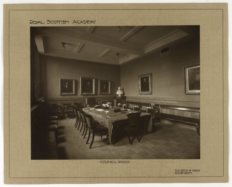 Interior view of the Royal Scottish Academy, Edinburgh, showing council room.