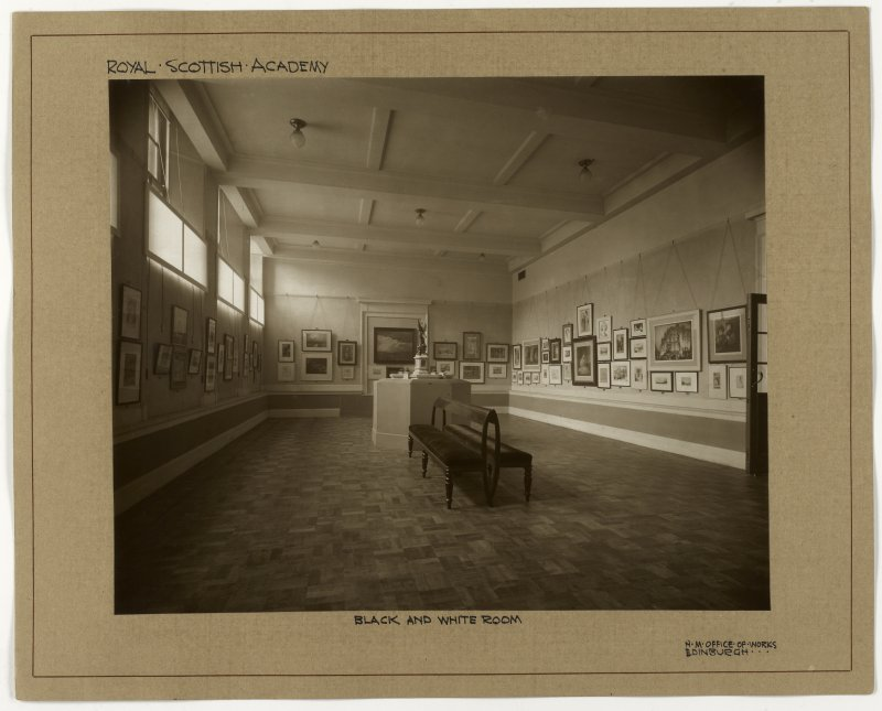 Interior view of the Royal Scottish Academy, Edinburgh, showing black and white room.