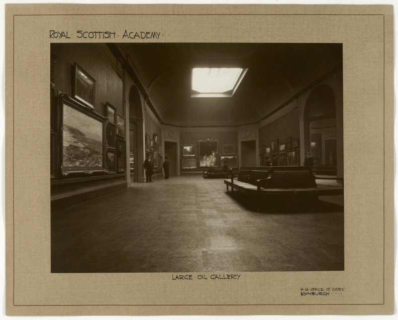 Interior view of the Royal Scottish Academy, Edinburgh, showing the large oil gallery after reconstruction in 1911.