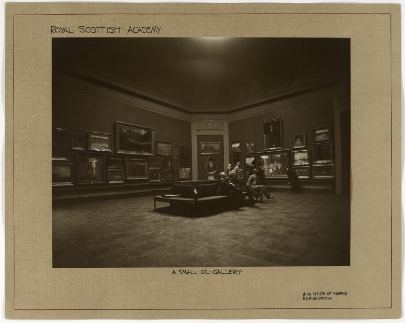 Interior view of the Royal Scottish Academy, Edinburgh, showing a small oil gallery after reconstruction in 1911.