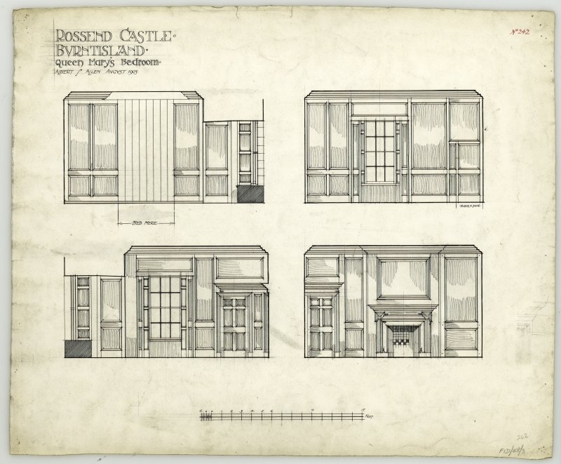 Elevations of wood panelling in Queen Mary's bedroom at Rossend Castle, Burntisland.