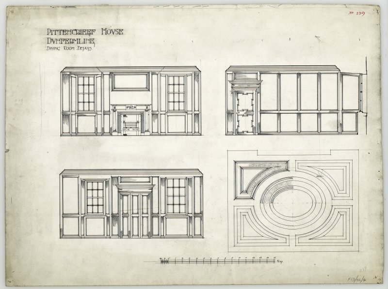 Elevations of wood panelling and plan of ceiling in dining room at Pittencrieff House, Dunfermline.