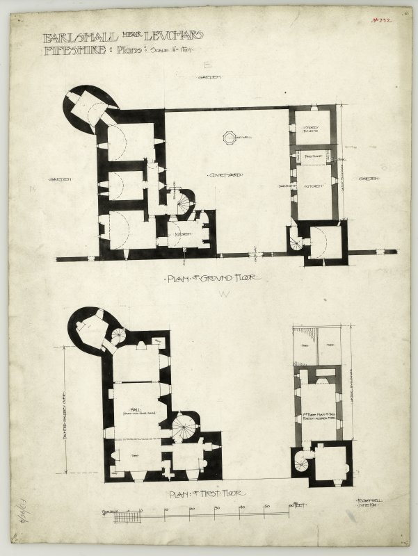 Plans of ground and first floor of Earlshall.