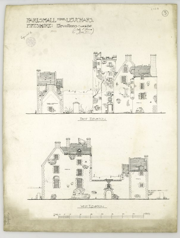 East and west elevations of Earlshall.