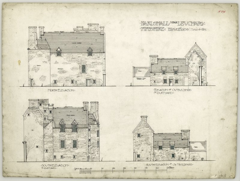 North and south elevations of Earlshall and elevations of outbuildings.