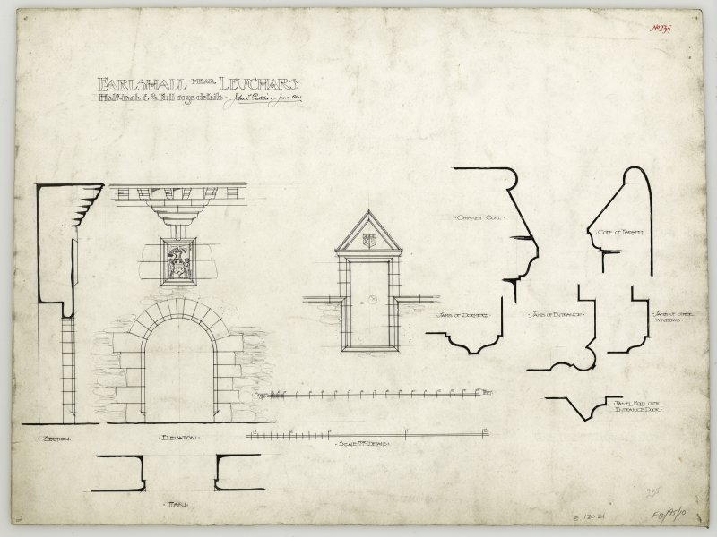 Elevation and section of entrance gateway with armorial panel at Earlshall with details of window, jambs, chimney copes and cope of parapet.
