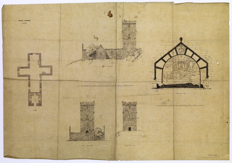 North, east and west elevations and plan of St Clement's Church, Rodel, Harris, and detail of Macleod's tomb.