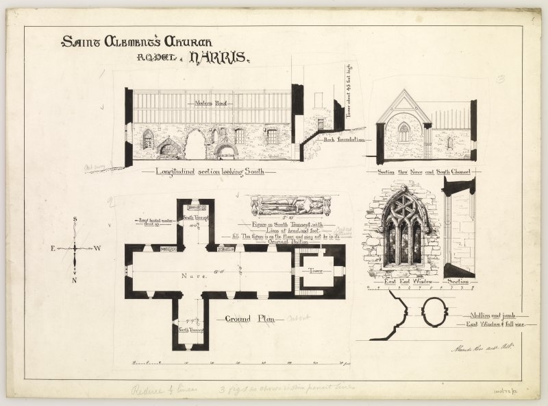 Longitudinal section looking south and ground plan of St Clement's Church, Rodel, Harris, and figure in south transept, section through nave and details and section of east window.