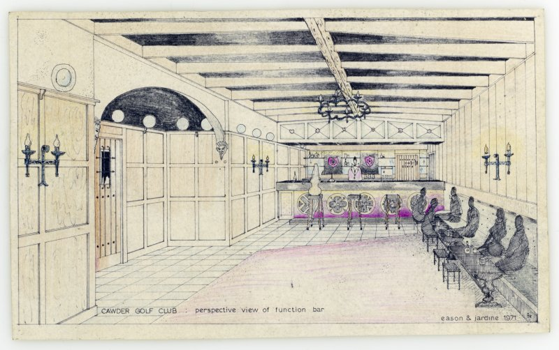 Mechanical copy of illustration for proposed interior scheme, 'perspective view of function bar', Cawder Golf Club.