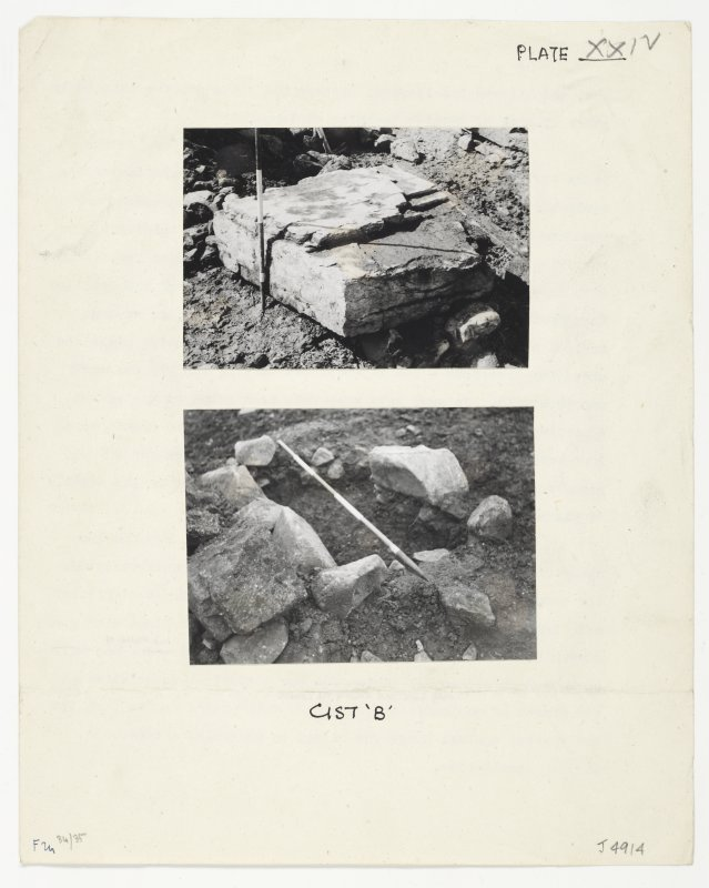 Views of Cist B during the excavations at Cairnpapple.