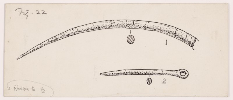 Drawing of antler pins from excavation at Cairnpapple.