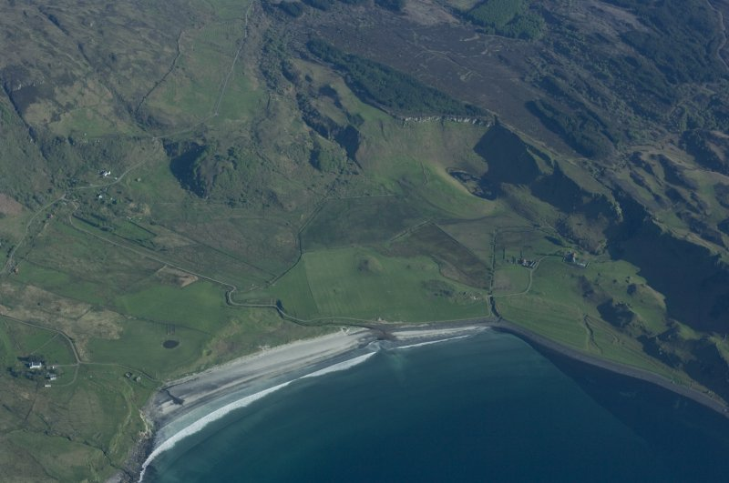 Aerial view from the N. The farm of Laig is towards the right with the former loch to its left, indicated by uncultivated ground. Sròn Laimhrige (Rock of the Landing Place) is at top centre, topped by a triangular wood. (Colin Martin)