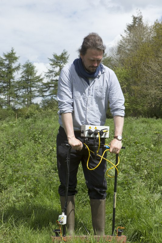 Oliver O'Grady carrying out geophysical survey
