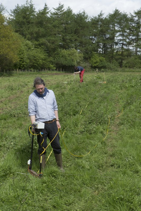 Oliver O'Grady and William Wyeth carrying out geophysical survey