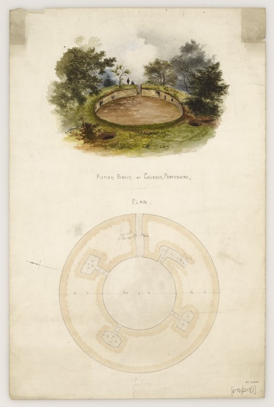 Perspective watercolour view and plan of Coldoch broch