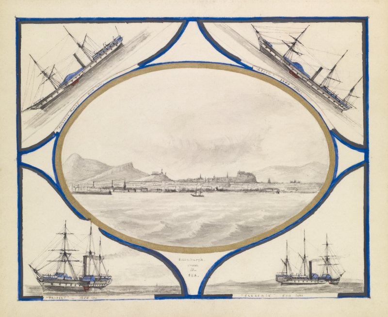 View of Edinburgh from the sea with details of four ships, Princess Royal, Leith, Trident and Clarence.
