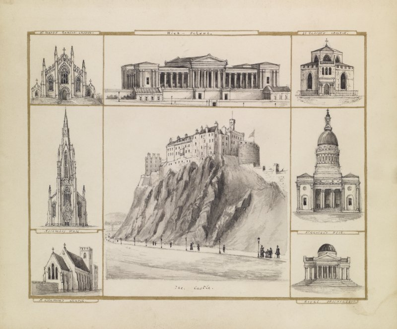 View of Edinburgh Castle with details of the Royal Observatory, St George's Kirk, St George's Church, Royal High School, St Mary's Chapel, Assembly Hall and St Columba's Church.