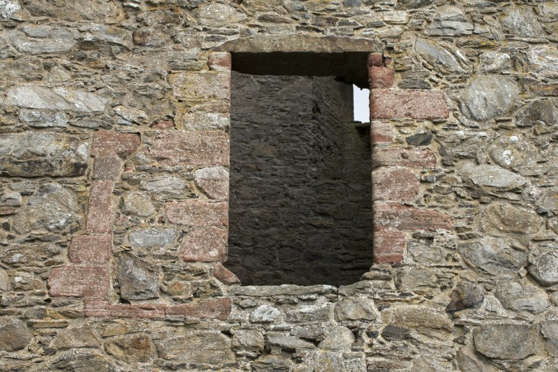 Invermark Castle. Detail of large window opening on west face at 1st floor level