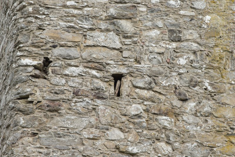Invermark Castle. Detail of small window opening at 2nd floor level of west face