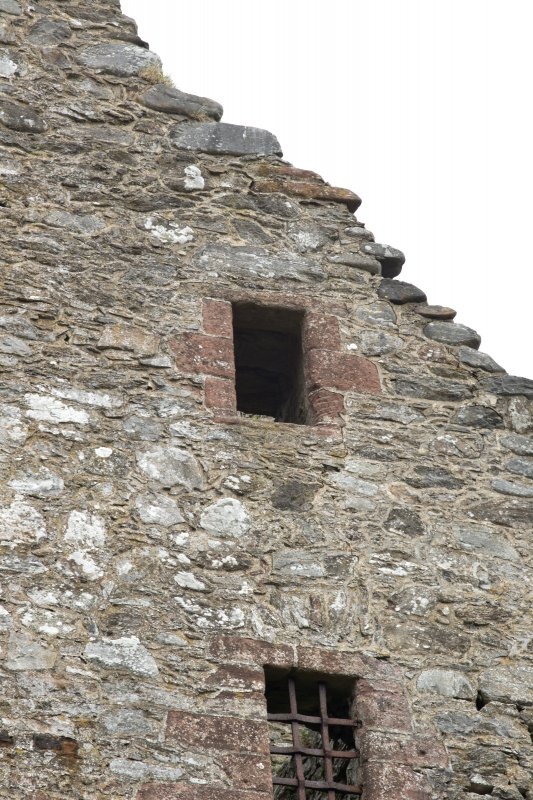 Invermark Castle. Detail of window opening at attic floor of west face