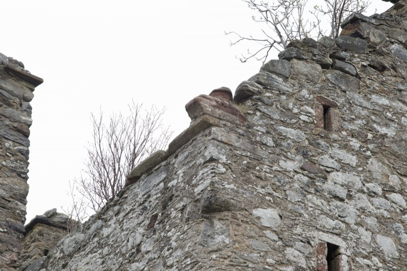 Invermark Castle. Detail of roofline with skewputt on west face