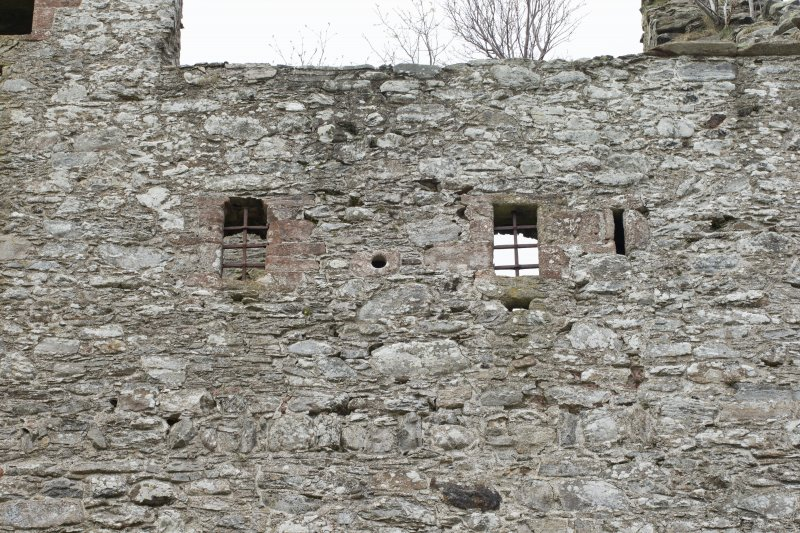 Invermark Castle. Detail of windows at 3rd floor level of north face