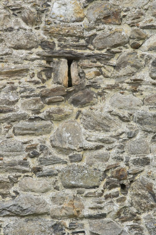 Invermark Castle. Detail of slit window on north face