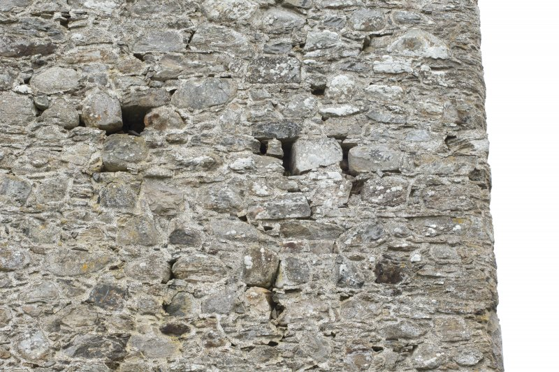 Invermark Castle. Detail of various openings on north face