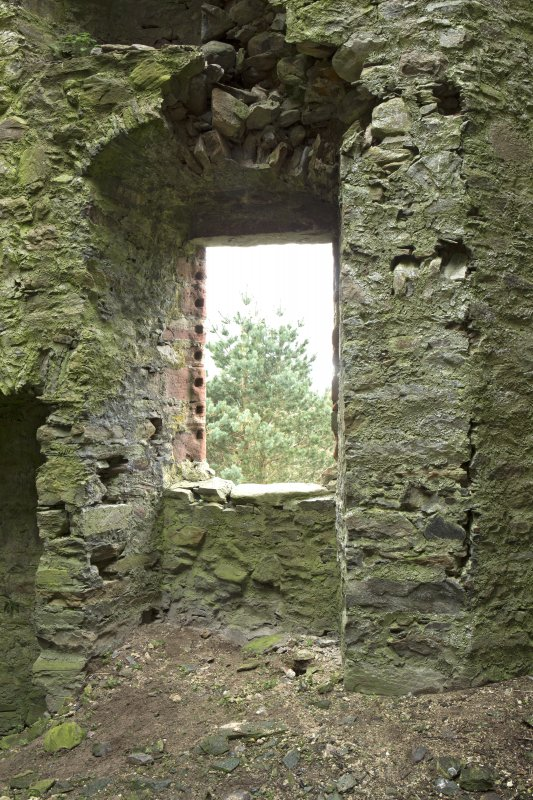 Invermark Castle. 1st floor, view of large window on west wall