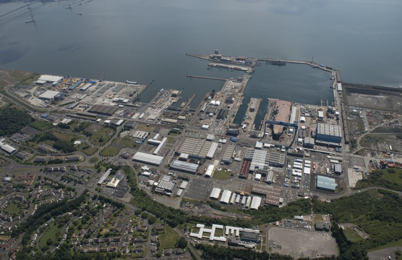 Oblique aerial view of Rosyth Dockyard, looking SSW.