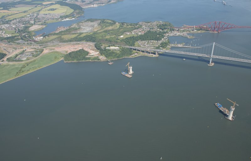 Oblique aerial view of the construction of the Queensferry Crossing, looking E.